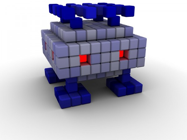 High quality render of a  Voxelien