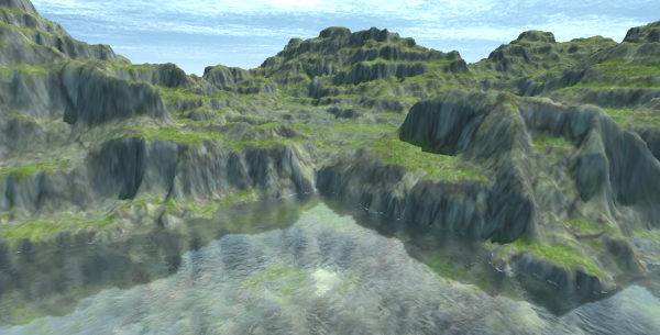 This map was created using the new (experimental) functionality to import from a heightmap.  It can then be edited as usual to create caves and overhangs.